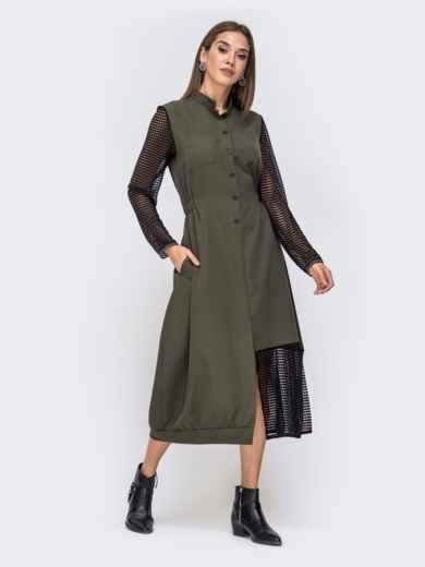 Платье с резинкой по талии и вставками из сетки хаки 41374, фото 1