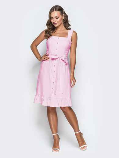 Пудровое платье из льна на широких бретелях с воланом по низу 46657, фото 1