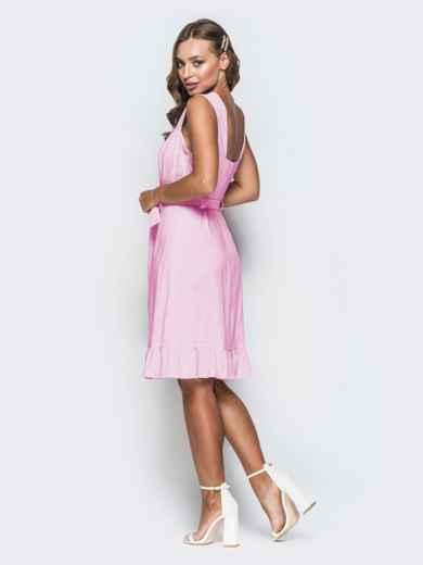 Пудровое платье из льна на широких бретелях с воланом по низу 46657, фото 2