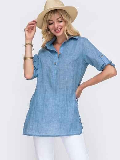 Свободная блузка из хлопка с разрезами по бокам голубая 49116, фото 1
