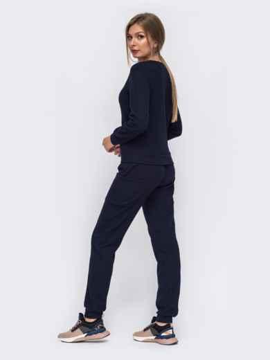 Темно-синий комплект из брюк и свитшота  50796, фото 2