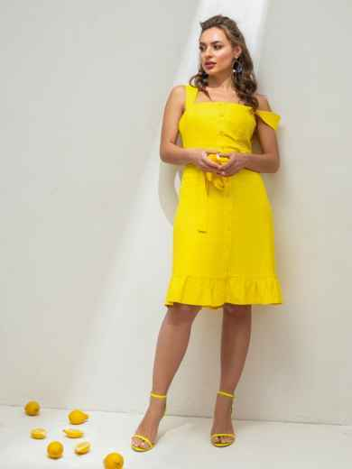 Жёлтое платье из льна на широких бретелях с воланом по низу 46654, фото 2