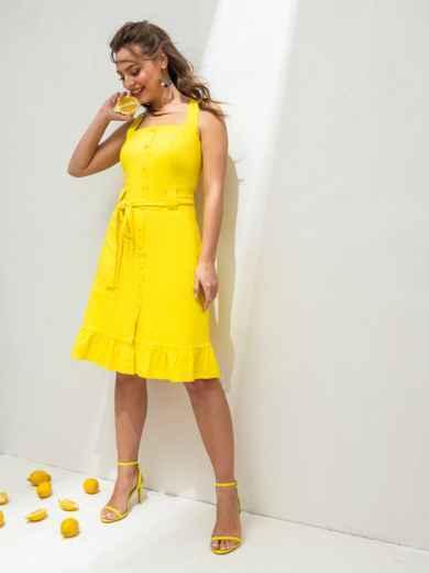 Жёлтое платье из льна на широких бретелях с воланом по низу 46654, фото 3