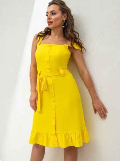 Жёлтое платье из льна на широких бретелях с воланом по низу 46654, фото 4