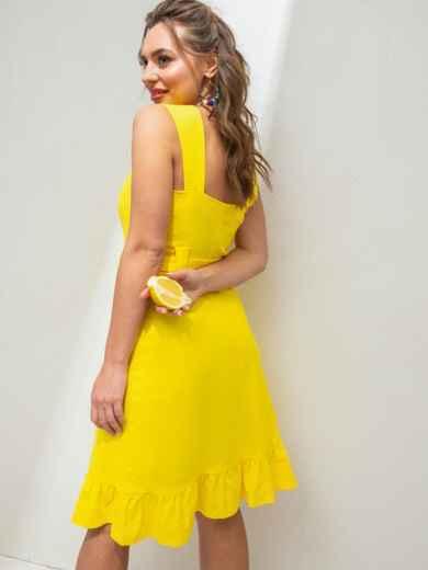 Жёлтое платье из льна на широких бретелях с воланом по низу 46654, фото 5