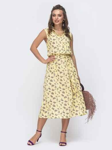 Желтое платье приталенного кроя с цветочным принтом 46667, фото 1
