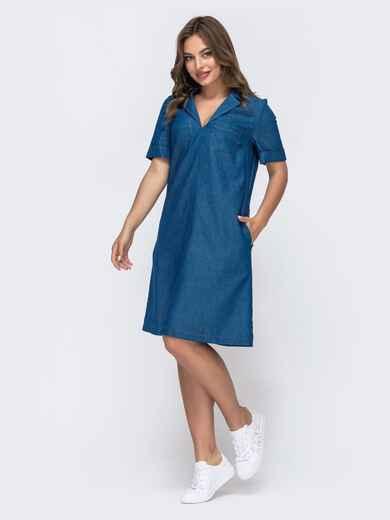 Джинсовое платье-трапеция синего цвета 48176, фото 1