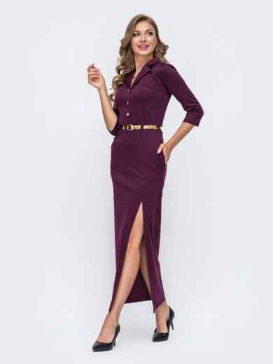 Обтягивающее платье бордового цвета с высоким разрезом  50578, фото 2