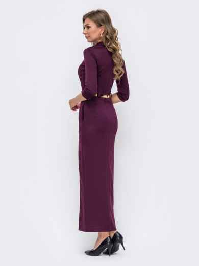 Обтягивающее платье бордового цвета с высоким разрезом  50578, фото 3