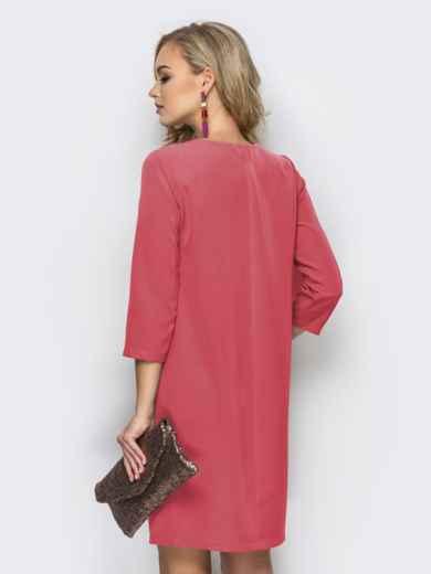 Платье свободного кроя со складкой розовое 44730, фото 2