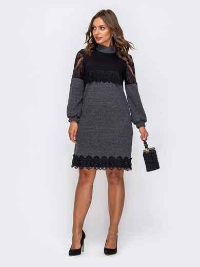 Приталенное платье из трикотажа с контрастной кокеткой серое 50513, фото 1