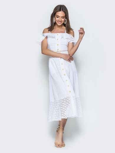 Хлопковый комплект из топа и юбки-полусолнце белый 38600, фото 2