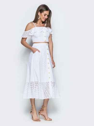 Хлопковый комплект из топа и юбки-полусолнце белый 38600, фото 4