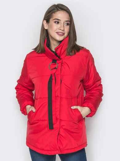 Красная куртка на кнопках и кольцом под горловиной 20074, фото 1