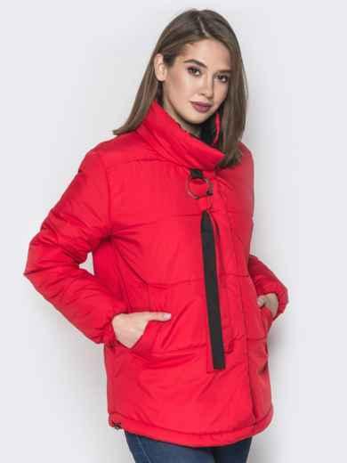 Красная куртка на кнопках и кольцом под горловиной 20074, фото 2