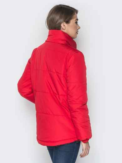 Красная куртка на кнопках и кольцом под горловиной 20074, фото 3