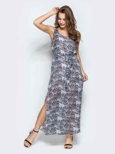 Леопардовое платья-макси из шифона с разрезом серое 22289, фото 1