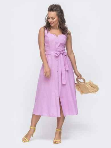 Приталенное платье из льна с фигурным вырезом фиолетовое 47298, фото 1