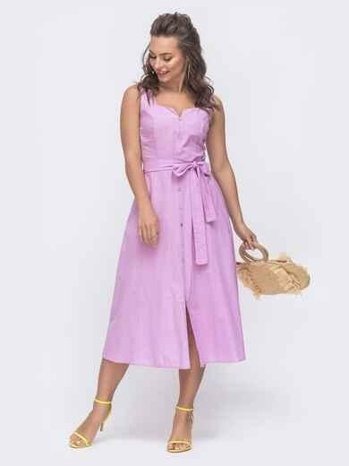 Приталенное платье из льна с фигурным вырезом сиреневое 47298, фото 1