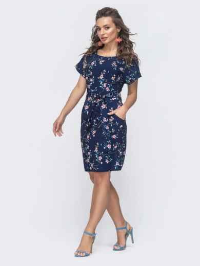Приталенное платье с принтом и цельнокроеным рукавом тёмно-синее 47300, фото 2