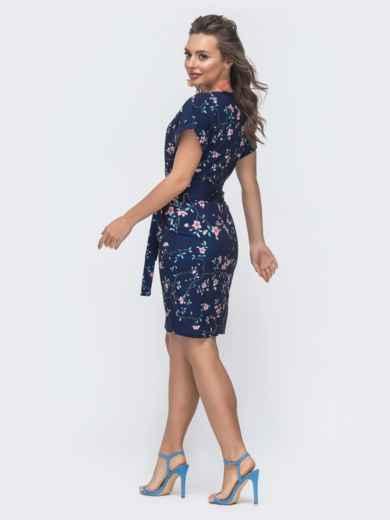 Приталенное платье с принтом и цельнокроеным рукавом тёмно-синее 47300, фото 3