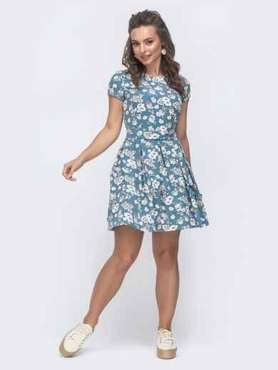 """Расклешенное платье с принтом и рукавом """"крылышко"""" голубое 47307, фото 1"""