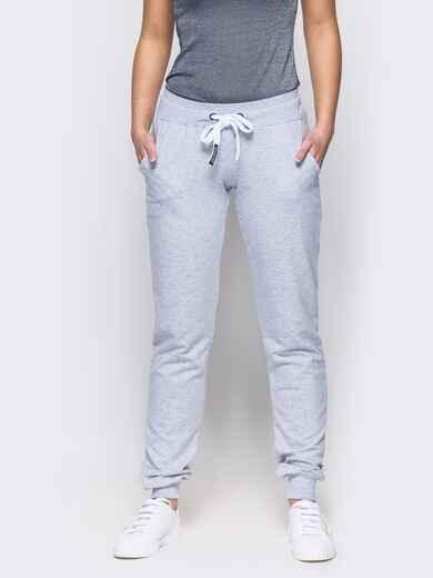 Спортивные брюки с кулиской и резинкой на поясе светло-серые 12138, фото 1