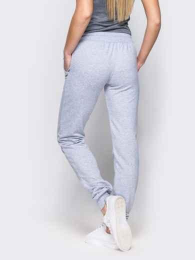 Спортивные брюки с кулиской и резинкой на поясе светло-серые 12138, фото 2