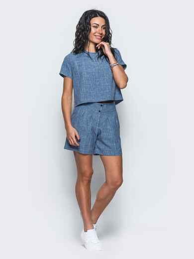 Комплект из льна с укороченной блузкой синий 12737, фото 1