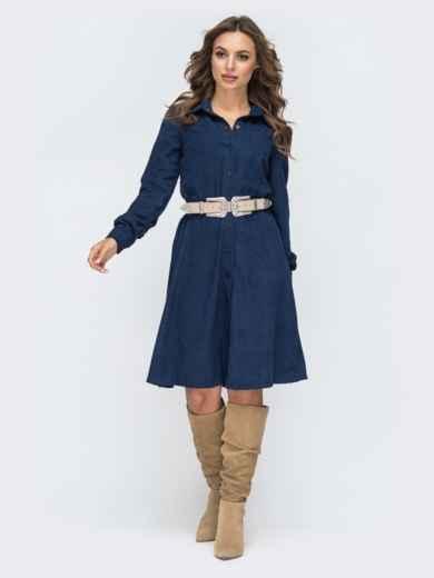 Расклешенное платье из вельвета тёмно-синее 44858, фото 4