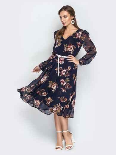 Шифоновое платье с цветочным принтом темно-синее 21006, фото 1