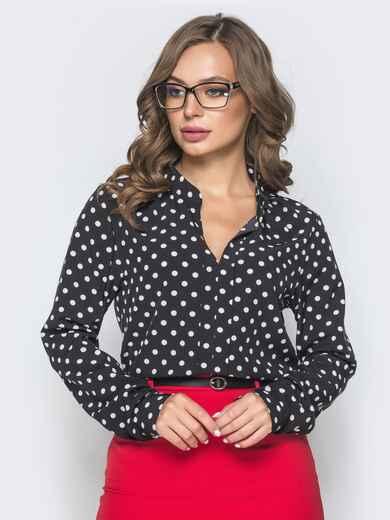 Чёрная блузка в горох с V-вырезом 39846, фото 1