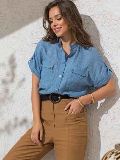 Голубая блузка прямого кроя из хлопка 49119, фото 1