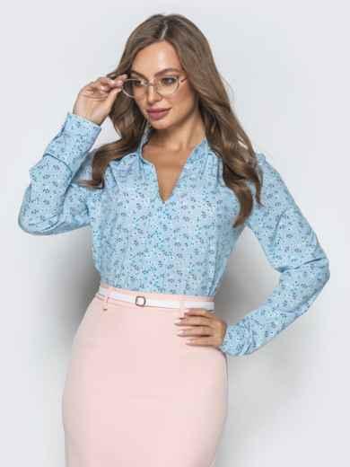 Голубая блузка с цветочным принтом и V-вырезом 39848, фото 2