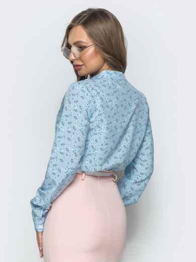 Голубая блузка с цветочным принтом и V-вырезом 39848, фото 3