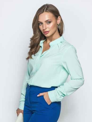 Классическая блузка с V-вырезом мятная 39845, фото 2
