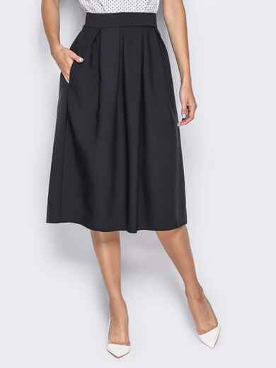 Юбка-миди из костюмной ткани с бантовой складкой черная 14367, фото 1