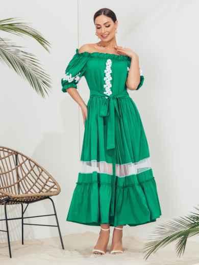 Длинное платье батал с открытыми плечами зеленое 46234, фото 2