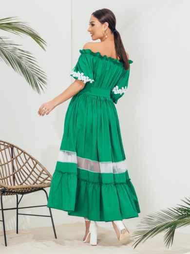 Длинное платье батал с открытыми плечами зеленое 46234, фото 3