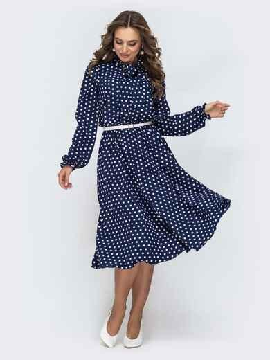 Платье в горох с воротником-аскот тёмно-синее 45069, фото 1