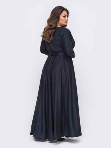Расклешенное платье-макси большого размера тёмно-синее 51015, фото 2