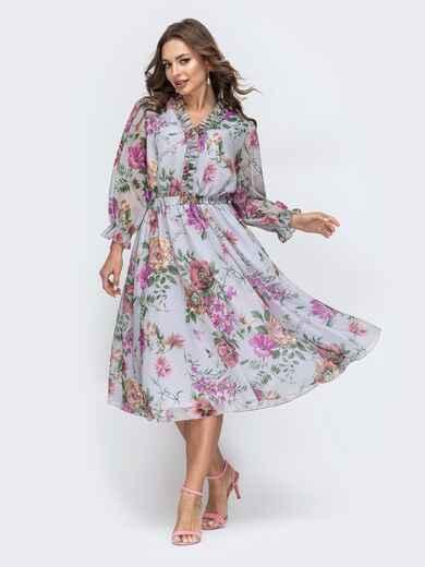 Серое платье с цветочным принтом 45454, фото 1