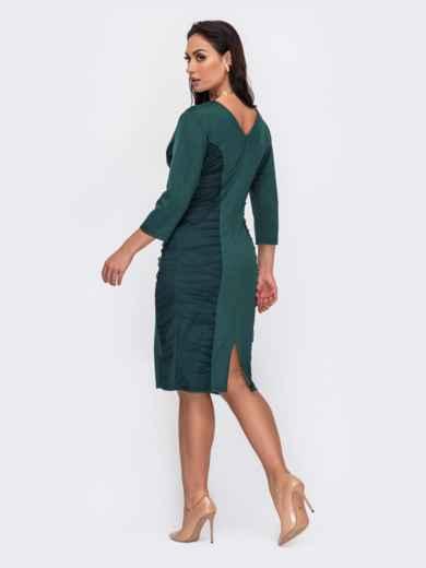 Зеленое платье-футляр большого размера с V-образным вырезом 52040, фото 2
