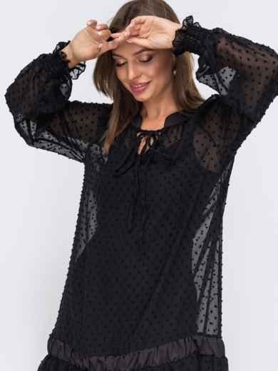 Черное платье из шифона с воланом по низу 50799, фото 2