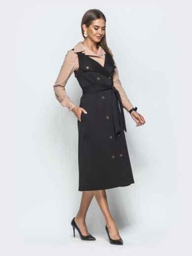 Двубортный сарафан расклешенного кроя чёрный 39937, фото 2