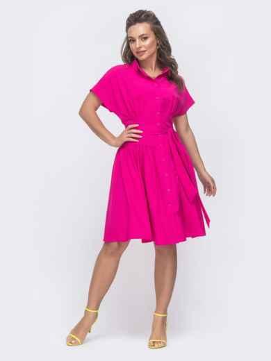 Расклешенное платье с драпированным лифом розовое 47312, фото 2