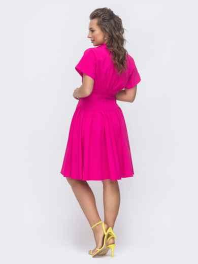 Расклешенное платье с драпированным лифом розовое 47312, фото 3