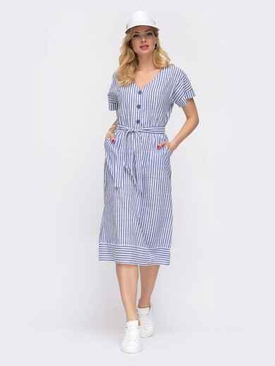 Синее платье в узкую полосу с карманами  48060, фото 1