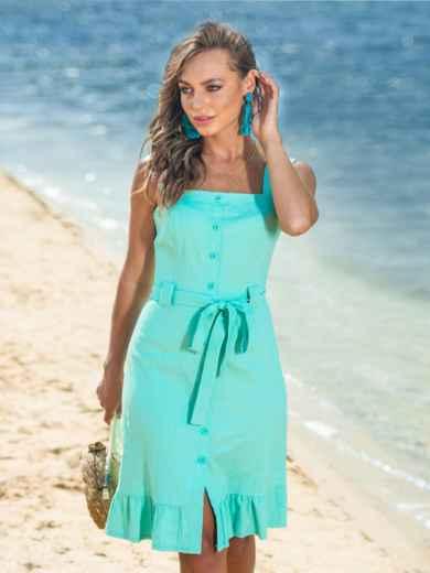 Бирюзовое платье с воланом по низу и вырезом каре 38572, фото 2