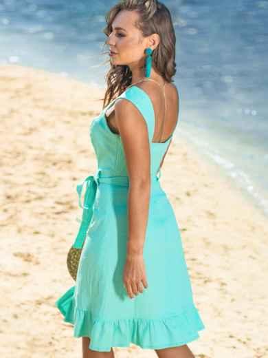 Бирюзовое платье с воланом по низу и вырезом каре 38572, фото 3